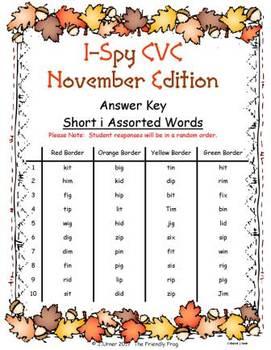 I-Spy CVC Fidget Spinner Fun - Short /i/ Assorted Words (November Edition)