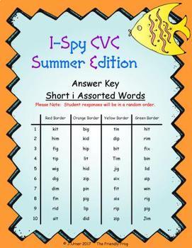 I-Spy CVC Fidget Spinner Fun - Short /i/ Assorted Words (Summer Edition)