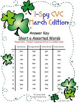 I-Spy CVC Fidget Spinner Fun - Short /o/ Assorted Words (March Edition)