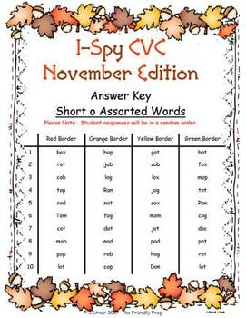 I-Spy CVC Fidget Spinner Fun - Short /o/ Assorted Words (November Edition)