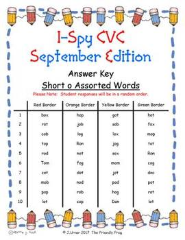 I-Spy CVC Fidget Spinner Fun - Short /o/ Assorted Words (September Edition)