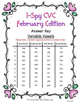I-Spy CVC Fidget Spinner Fun - Variable Vowel Words (February Edition)