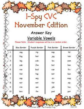 I-Spy CVC Fidget Spinner Fun - Variable Vowel Words (November Edition)