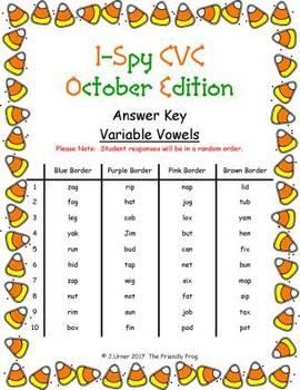 I-Spy CVC Fidget Spinner Fun - Variable Vowel Words (October Edition)
