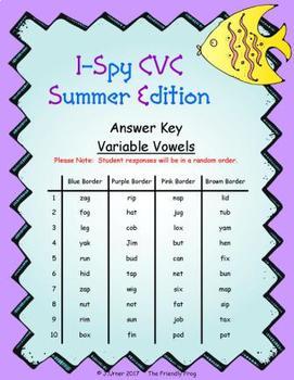 I-Spy CVC Fidget Spinner Fun - Variable Vowel Words (Summer Edition)