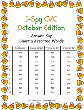 I-Spy CVC Hidden Pictures -- Short /a/ Assorted Words (October Edition)