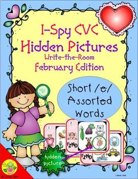 I-Spy CVC Hidden Pictures -- Short /e/ Assorted Words (February Edition)