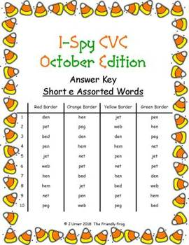I-Spy CVC Hidden Pictures -- Short /e/ Assorted Words (October Edition)