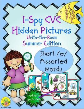 I-Spy CVC Hidden Pictures -- Short /e/ Assorted Words (Summer Edition)