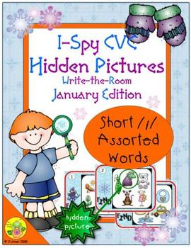 I-Spy CVC Hidden Pictures -- Short /i/ Assorted Words (January Edition)