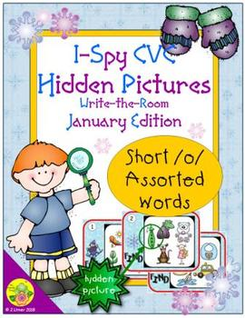 I-Spy CVC Hidden Pictures -- Short /o/ Assorted Words (January Edition)