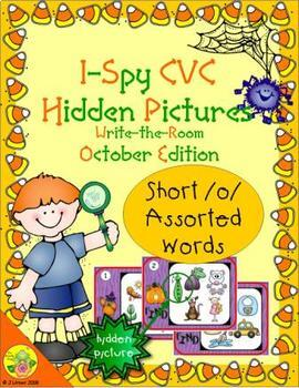 I-Spy CVC Hidden Pictures -- Short /o/ Assorted Words (October Edition)
