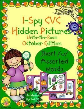 I-Spy CVC Hidden Pictures -- Short /u/ Assorted Words (October Edition)