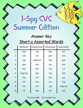 I-Spy CVC Hidden Pictures -- Short /u/ Assorted Words (Summer Edition)