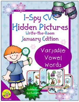 I-Spy CVC Hidden Pictures -- Variable Vowel Words (January Edition)