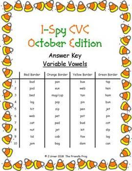 I-Spy CVC Hidden Pictures -- Variable Vowel Words (October Edition)
