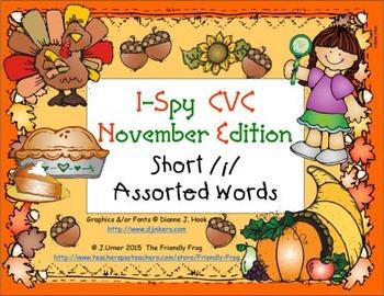 I-Spy CVC Learning Centers - Short /i/ Assorted Words (November Edition)