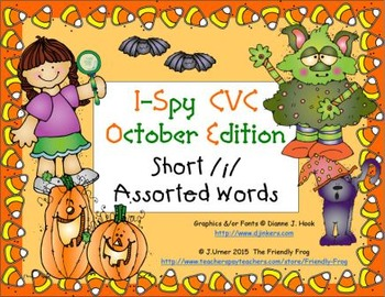 I-Spy CVC Learning Centers - Short /i/ Assorted Words (October Edition)