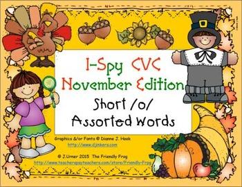 I-Spy CVC Learning Centers - Short /o/ Assorted Words (November Edition)
