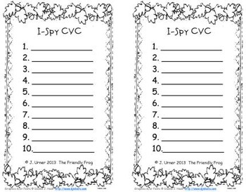 I-Spy CVC Learning Centers - Variable Vowel Words (November Edition)