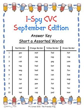 I-Spy CVC Mirror Words - Short /a/ Assorted Words (Sept. Edition) Set 4