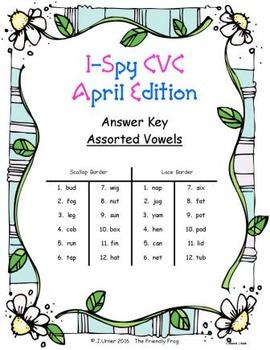 I-Spy CVC Match-Up - Assorted Vowels (April Edition)