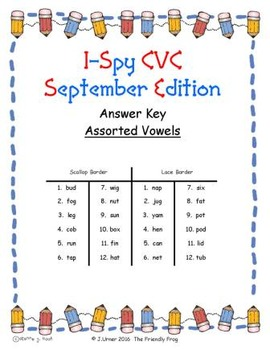 I-Spy CVC Match-Up - Assorted Vowels (September Edition)