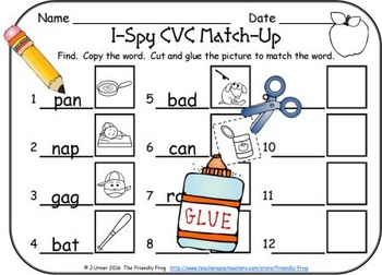 I-Spy CVC Match-Up - Short /a/ Assorted Words (September Edition)