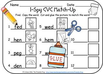 I-Spy CVC Match-Up - Short /e/ Assorted Words (December Edition)