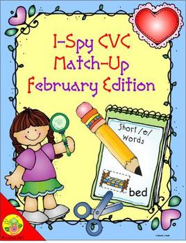 I-Spy CVC Match-Up - Short /e/ Assorted Words (February Edition)