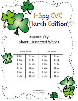 I-Spy CVC Match-Up - Short /i/ Assorted Words (March Edition)