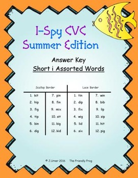I-Spy CVC Match-Up - Short /i/ Assorted Words (Summer Edition)