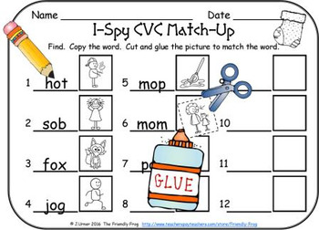 I-Spy CVC Match-Up - Short /o/ Assorted Words (December Edition)