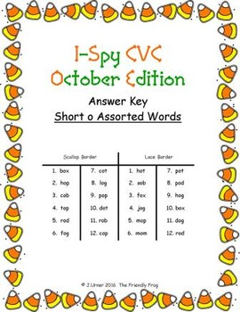 I-Spy CVC Match-Up - Short /o/ Assorted Words (October Edition)