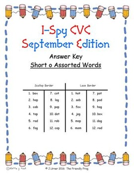 I-Spy CVC Match-Up - Short /o/ Assorted Words (September Edition)