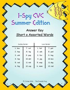 I-Spy CVC Match-Up - Short /o/ Assorted Words (Summer Edition)