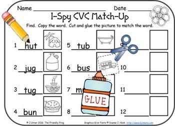 I-Spy CVC Match-Up - Short /u/ Assorted Words (April Edition)