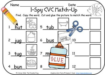 I-Spy CVC Match-Up - Short /u/ Assorted Words (Summer Edition)