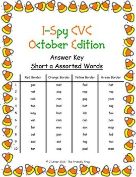 I-Spy CVC Mirror Words - Short /a/ Assorted Words (October Edition) Set 4
