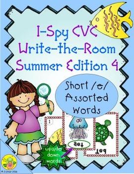 I-Spy CVC Mirror Words - Short /e/ Assorted Words (Summer Edition) Set 4