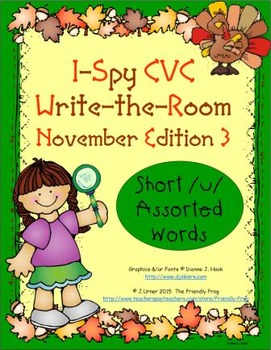 I-Spy CVC Mirror Words - Short /u/ Assorted Words (November Edition) Set 3