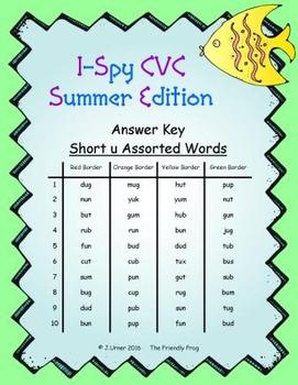 I-Spy CVC Mirror Words - Short /u/ Assorted Words (Summer Edition) Set 4