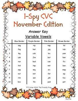 I-Spy CVC Mirror Words - Variable Vowel Words (November Edition) Set 3