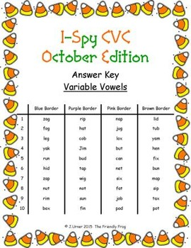 I-Spy CVC Mirror Words - Variable Vowel Words (October Edition) Set 3