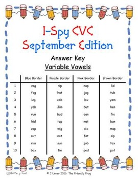 I-Spy CVC Mirror Words - Variable Vowel Words (Sept. Edition) Set 4