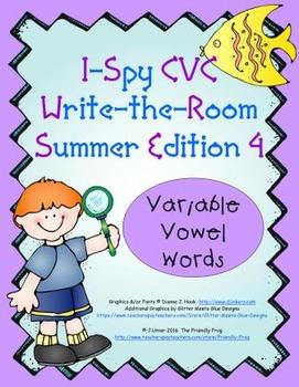 I-Spy CVC Mirror Words - Variable Vowel Words (Summer Edition) Set 4