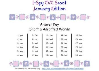 I-Spy CVC Scoot - Short /a/ Assorted Words (January Edition)
