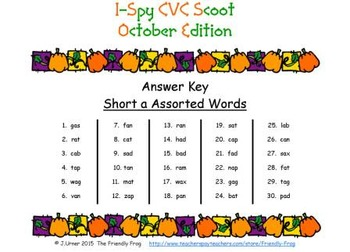 I-Spy CVC Scoot - Short /a/ Assorted Words (October Edition)