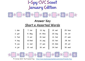 I-Spy CVC Scoot - Short /e/ Assorted Words (January Edition)