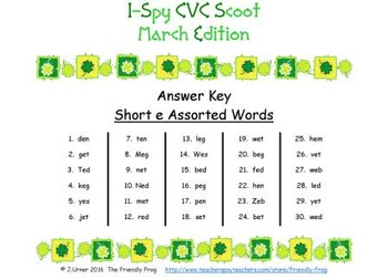 I-Spy CVC Scoot - Short /e/ Assorted Words (March Edition)